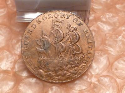 1795 The Guard & Glory Of Britain Colonial Halfpenny Trade Token Letter Edge #2