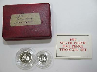 Great Britain Uk 1990 5 Pence Silver Proof Set World Coin Collection Lot