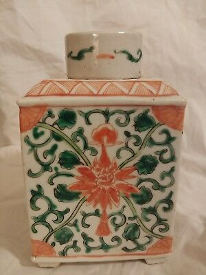 Chinese Export Porcelain Tea Caddy with Famille Lotus Blossom Design