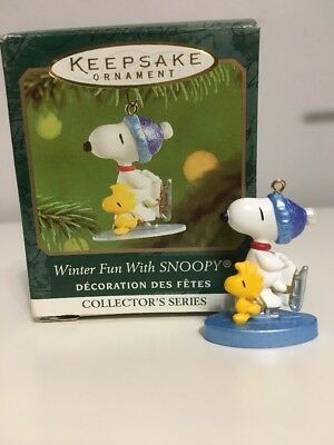 HALLMARK ORNAMENT Winter Fun With Snoopy #4 Peanuts Woodstock Ice Skating 2001