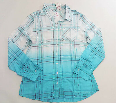 NWT Justice Kids Girls Size 18 or 20 Blue Plaid Ombre Silver Thread Shirt Top