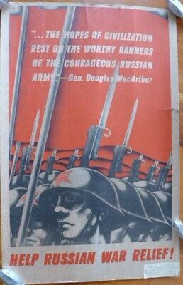 Original WWII Poster Russian War Relief ...THE HOPES OF CIVILIZATION REST ON THE