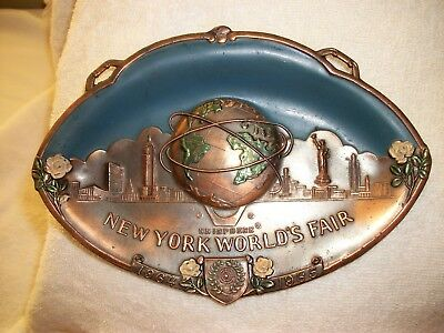 new york  worlds fair unisphere copper/brass hanging souvenir plate