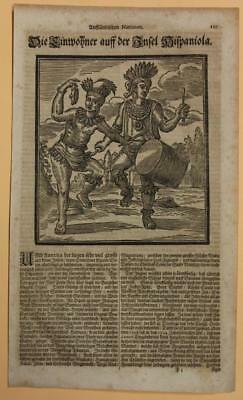 Haiti & Dominican Republic Natives Hispaniola1688 Happel Unusual Antique Plate