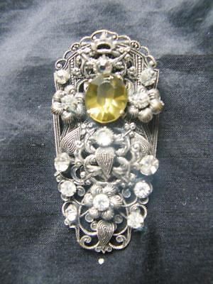 Vintage Art Deco Czech Bohemian Silvered Filigree Dress Clip - Stamped 340