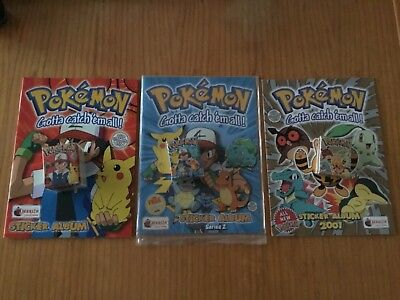 3 POKEMON STICKER ALBUMS COMPLETE WITH ALL STICKERS (Not Inserted) By Merlin