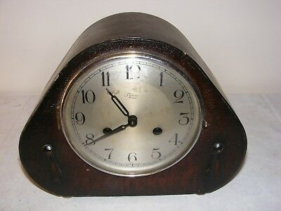Vintage Tymo Art Deco Mantle Clock Oak Case Brass Movement Striker Working
