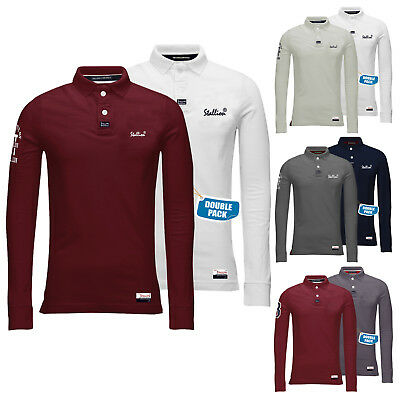 Mens Polo Shirts Double Pack Stallion Cotton Long Sleeve Pique Top