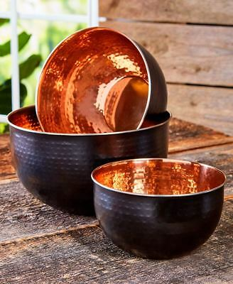 Set Of Three Beautiful Copper And Black Mixing Or Serving Bowls Stainless Steel