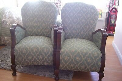 Pair of Art Deco Fireside Chairs Mahogany Arms