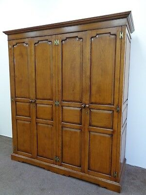 A Large Top Quality Solid Oak Wardrobe / Armoire / Antique Style