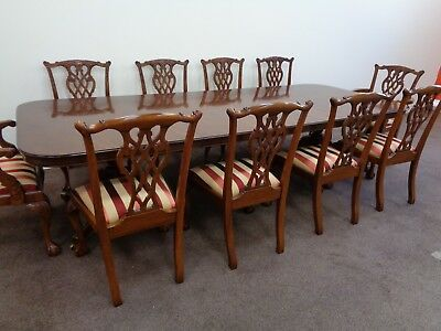 LARGE 11ft 6in EXTENDING MAHOGANY DINING TABLE & 10 CHAIRS ANTIQUE STYLE