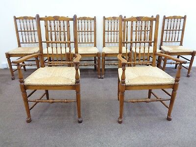 8 Oak Spindle Back Dining Chairs / Antique Farmhouse Style