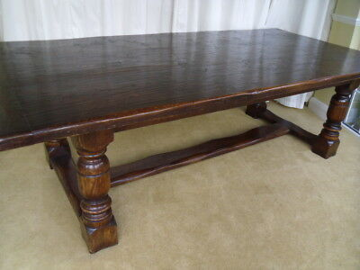 LARGE CHUNKY 8ft OAK ANTIQUE STYLE REFECTORY DINING TABLE