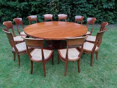 Large Round Dining Table & 12 Chairs French Cherry / Antique Style