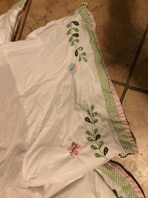 POTTERY BARN KIDS PBK Haley CRIB Sized Dust Ruffle/Skirt Butterfly Appliqués