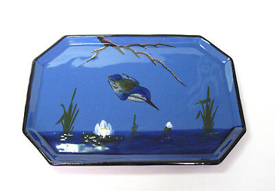 Watcombe Pottery Torquay Dressing Table Tray - Kingfisher Blue Vintage / Antique