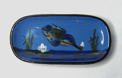 Watcombe Pottery Torquay - Pin Dish / Tray - Blue Kingfisher - Vintage / Antique