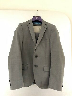 Boys Three Piece Lined Suit Skinny Fit GREY AGE 12/13
