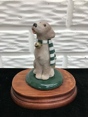 1992 Byers Choice Ltd. Carolers Dog with Striped Scarf and Bell - Chalfont, PA