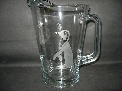 New Etched African Penguin Glass Water Beer Iced Tea Sangria Pitcher