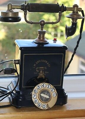 ANTIQUE EARLY 20th CENTURY LM ERICSSON MAGNETO TABLE TELEPHONE PARTIALLY WORKING