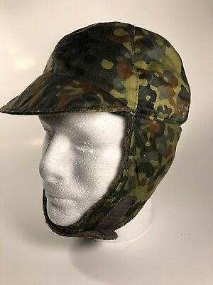 Genuine German Army Military Winter Pile Cap Flecktarn Hat Cold Weather
