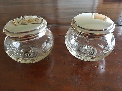 "Pair large Silver Lidded Dressing Table ""Rose""Glass Pots 1920"