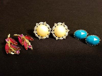 Estate Lot of Antique, Costume Jewelry EARRINGS, Screw Back, Clip on