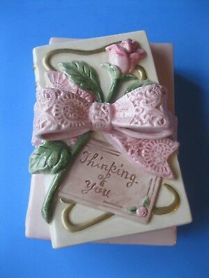 FITZ & FLOYD Trinket Box Pink Floral THINKING OF YOU Collectible OMNIBUS