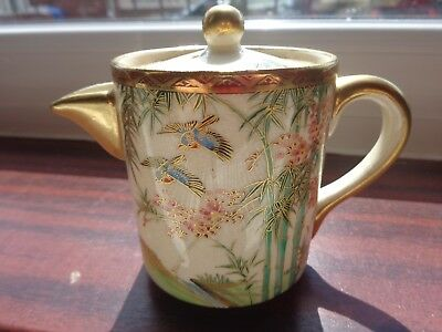 Vintage Soko Hand Painted China Pretty Little Lidded Jug With Bluebirds And Bamb