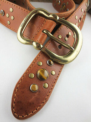 MICHAEL KORS Brown Leather Tiger Eye Gemstone/Goldtone Studs Belt Small NEW