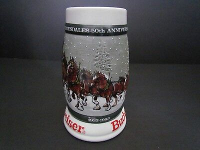 1983 Budweiser Clydesdales 50th Anniversary Holiday Stein 1933-1983