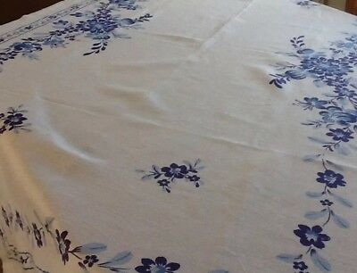 Vintage Linen Tablecloth. White With Blue Flower Print Border.