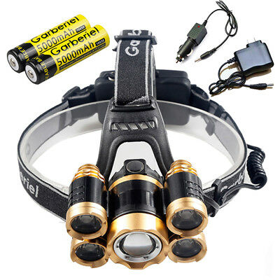 5-LED Zoomable LED Rechargeable 18650 battery Headlamp 100000LM  Torch Charger