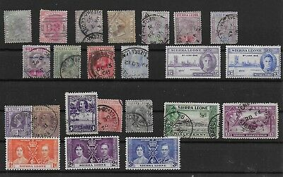 3390: Sierra Leone; selection of 23 old stamps. Victoria-George. 1883>