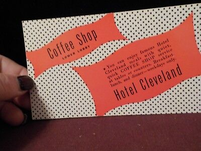Vintage Hotel Cleveland Coffee Shop Lower Lobby Advertisment Card