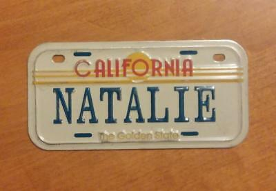 California Golden State Mini Bicycle Bike License Plate With Name CHRISTINA NOS