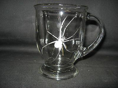 New Etched Spider Glass Coffee Hot Chocolate Mug