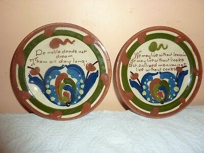 Pair Of  Watcombe Pottery 15Cm Diam Plates/stands With Quotes &flower Decoration