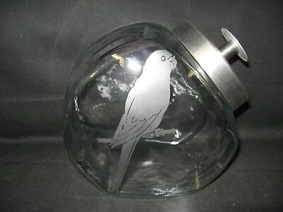 New Etched Parakeet Glass Cookie Candy Treat  Storage Jar Canister