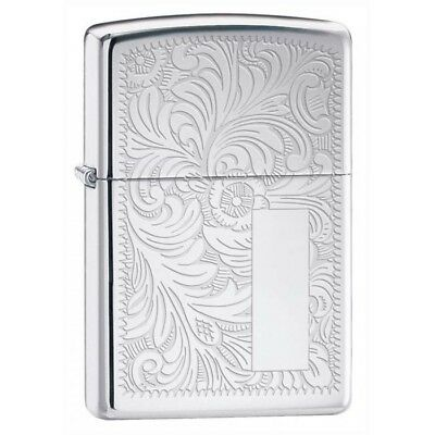 Zippo Lighter Engraved Venetian High Polished Chrome W/Pipe Lighter Insert 352PL