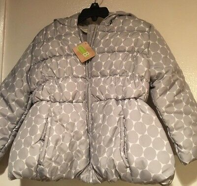 Nw Girl's Crazy 8 Puffy Hooded Jacket Fleece Lining White Grey Polka Dots Xs 4