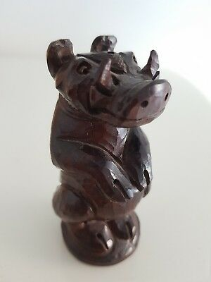 Antique Hand Carved Wooden Salt Shaker Boar Pig Black Forest Style