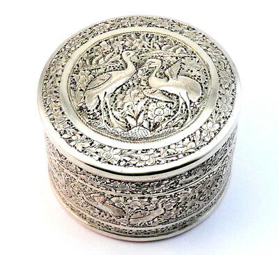 ISFAHAN c1900, HIGH QUALITY ANTIQUE PERSIAN ISLAMIC ENGRAVED SOLID SILVER BOX