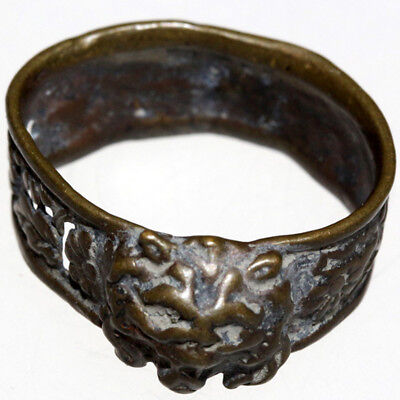 Intact Medieval Greek Bronze Ring With A lion Face