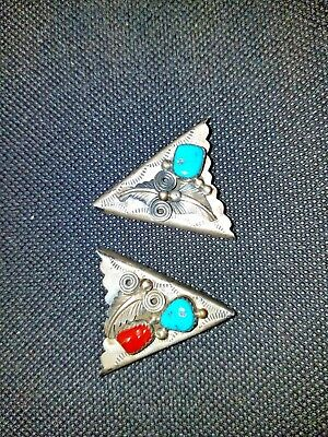 Vintage Silver and Turquoise collar tips.