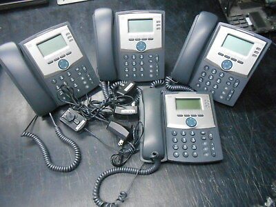 Lot of Four 4 Cisco SPA303 3 Line IP Phone w/ Three Stands & Four Power Adapters