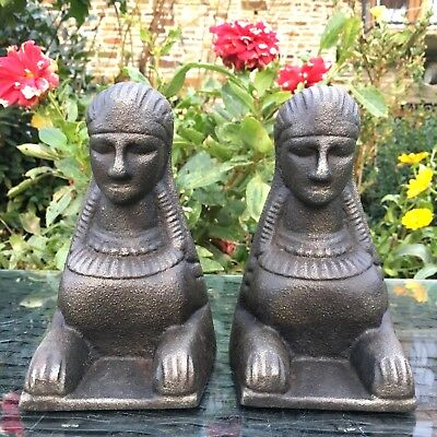 Cast Iron Door Stop Vintage Egyptian Spinx Style X2 1 Pair Bookends 3.1 Kg