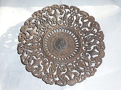 Superb Antique Victorian Decorative Cast Iron Plate/Dish, c1880